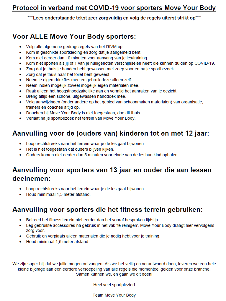 Protocol COVID 19 voor sporters Move Your Body